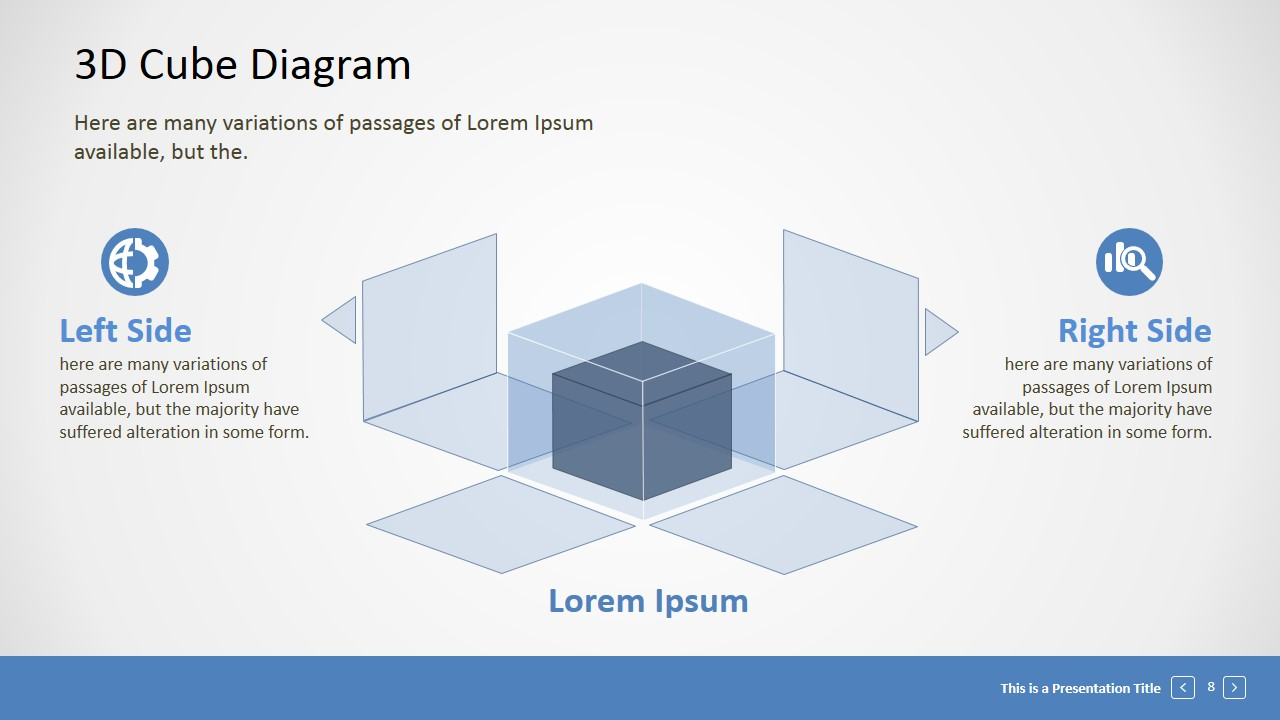 editable 3d cube presentation template slidemodel