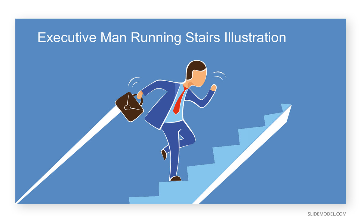 Executive Man Running Stairs Illustration Scene PPT Template