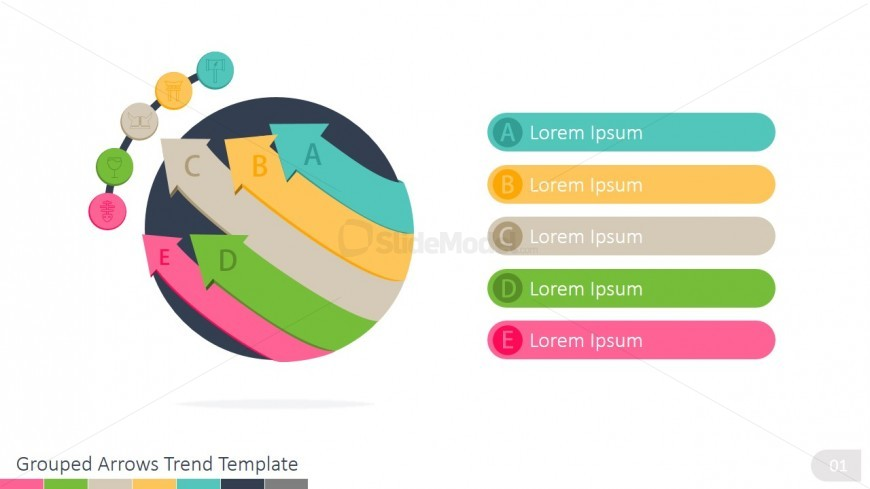 5 Curved Arrows PowerPoint Diagram