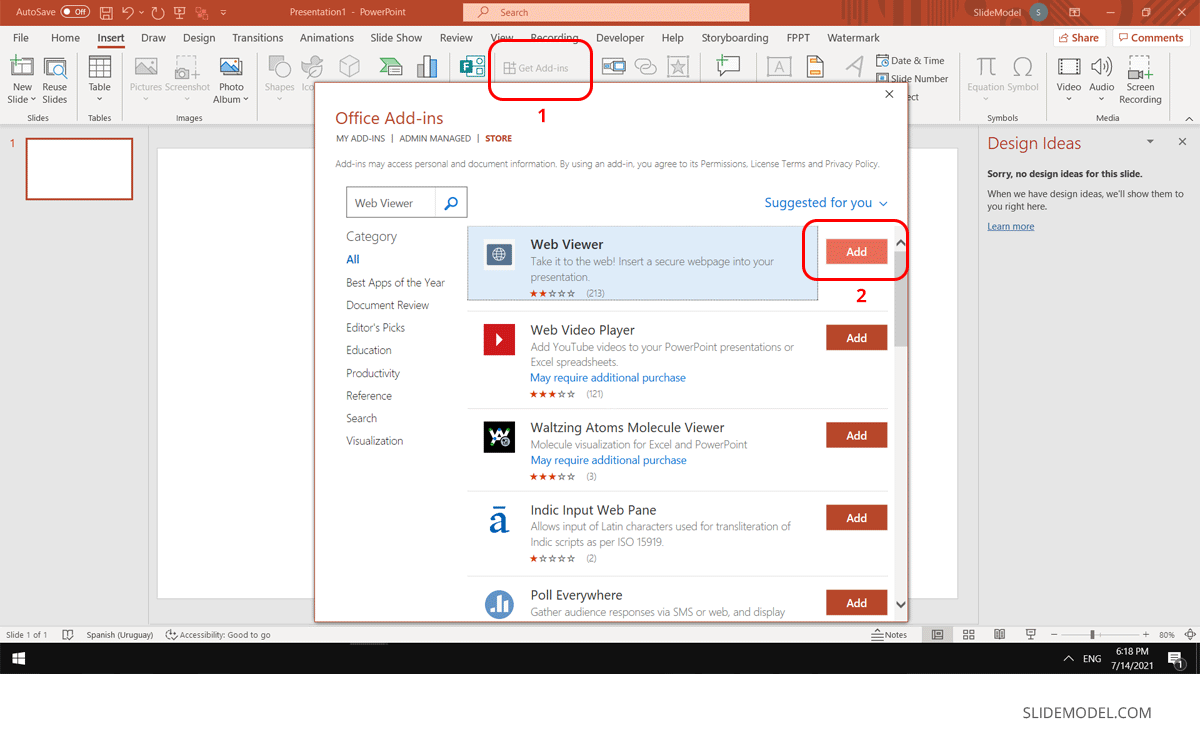 Install Web Viewer Plug in for PowerPoint