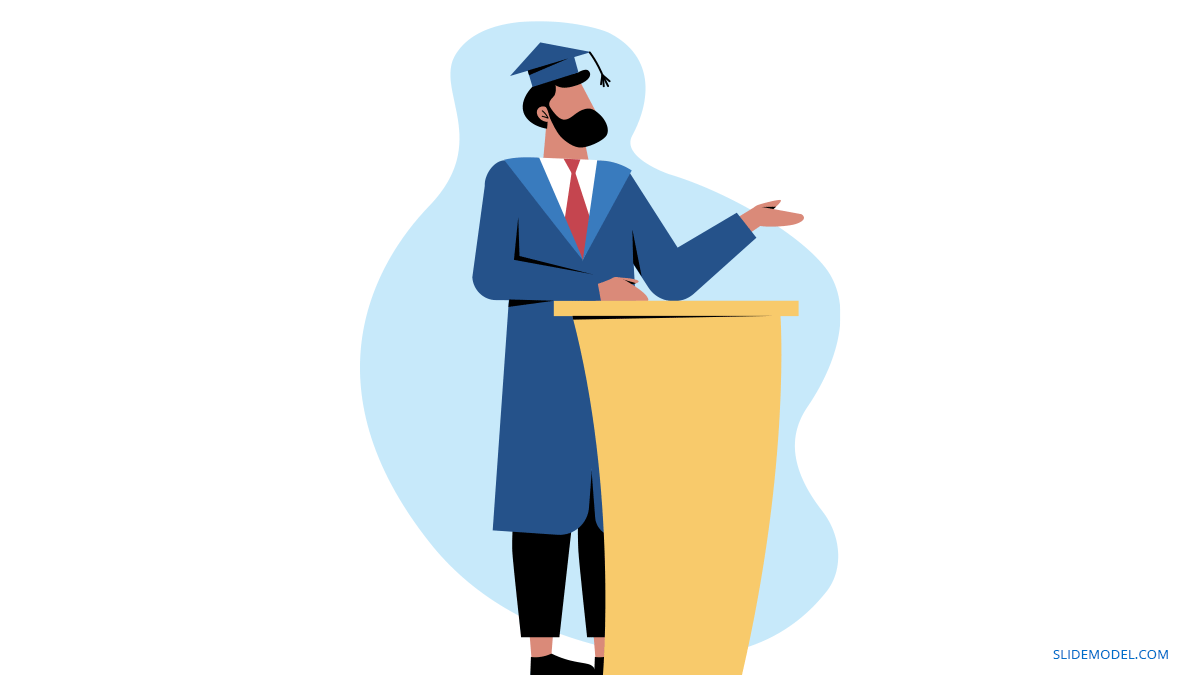 Graduation Speech Speaking Man PPT Template