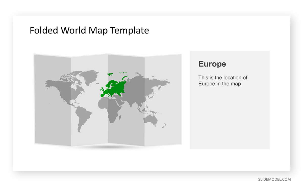 Folded World Map Template Europe Highlight PPT Template