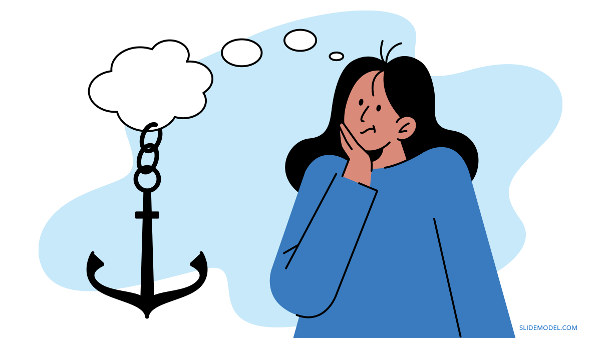 Anchoring Cognitive Bias Woman with Anchor PPT Template
