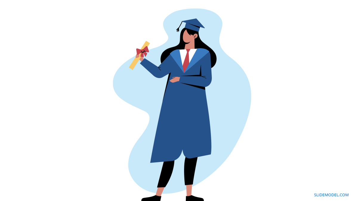 Graduation Speech Woman with Title PPT Template