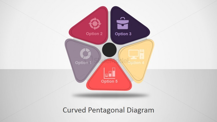 PowerPoint Pentagon Diagram with Curved Vertex