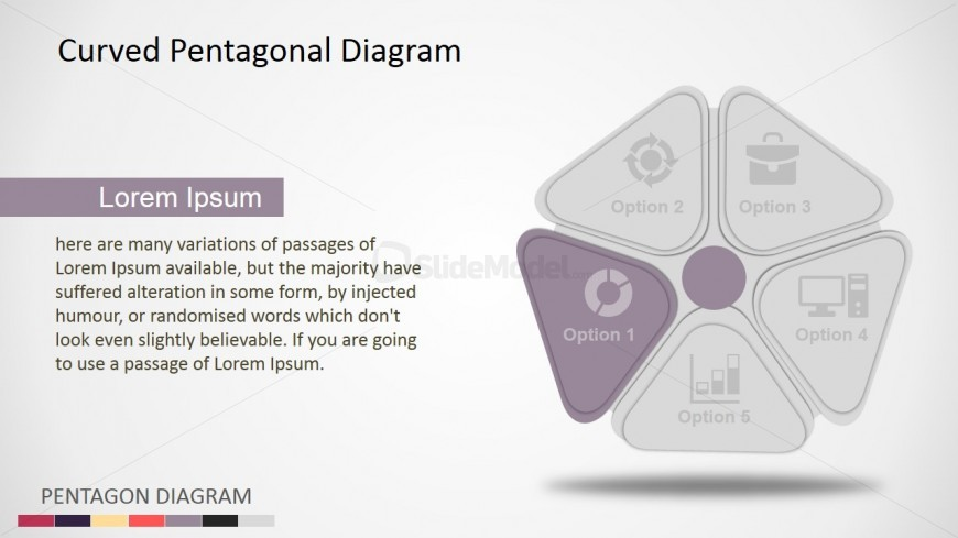 PowerPoint Diagram Pentagon Shape with Five Steps