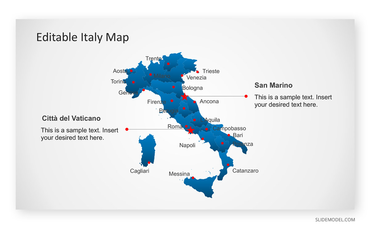 Map of Italy City of Rome PPT Template
