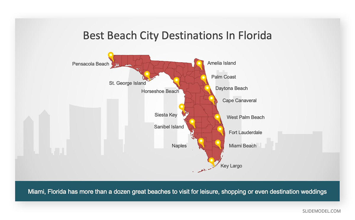 Florida State Outline Map PPT Template