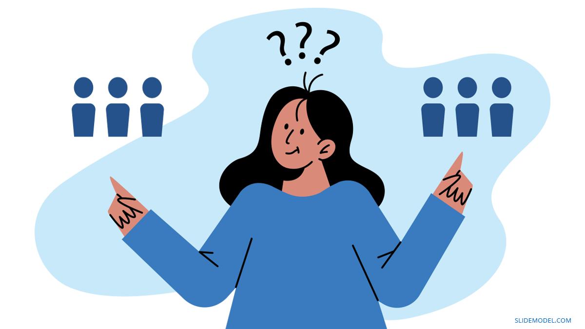 Woman Choosing Ingroup Preference Bias PPT Template