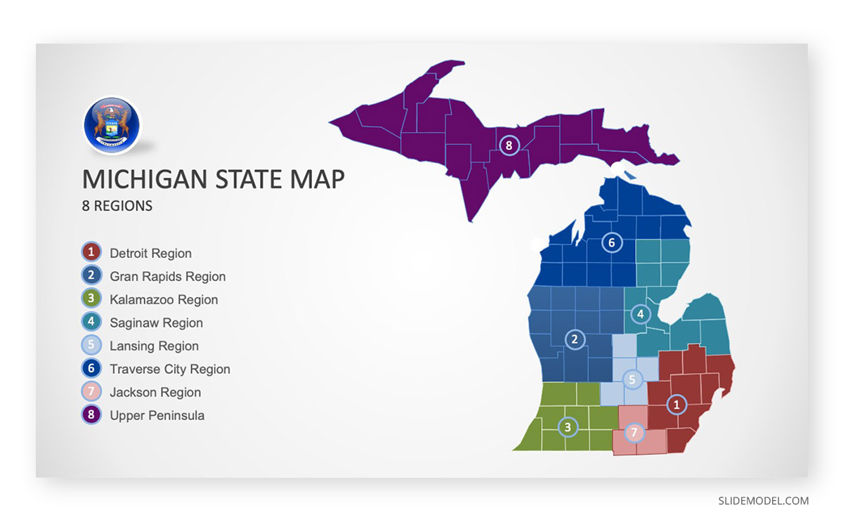 Michigan County Map PPT Template