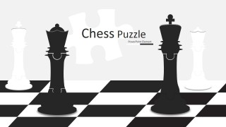 PowerPoint Chess Design with Jigsaw King and Queen