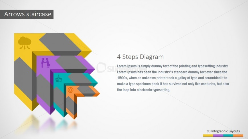 Arrows 3D Staircase PowerPoint Diagram