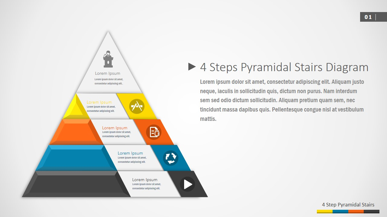 4 Steps Pyramidal Stairs Powerpoint Diagram