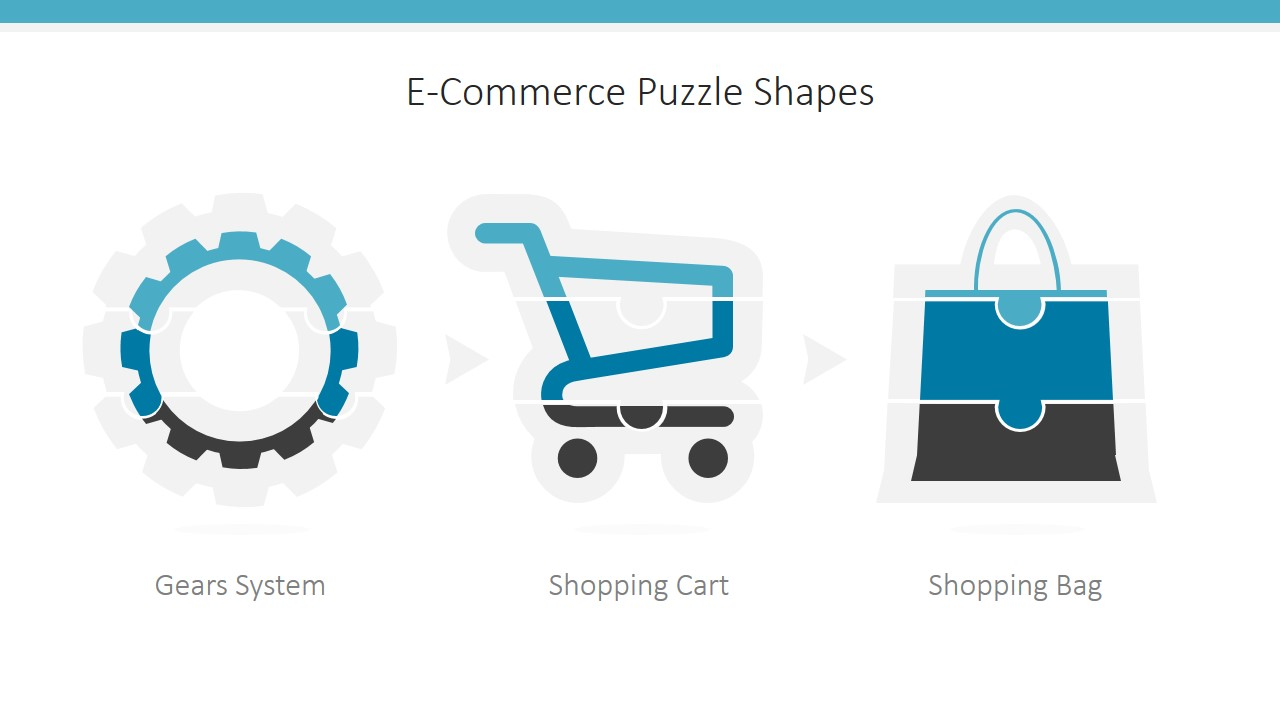 e-commerce icons puzzle powerpoint shapes - slidemodel, Presentation templates