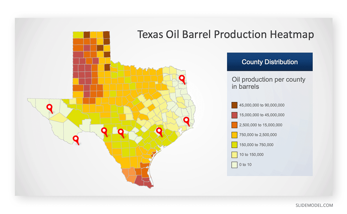 Texas County Map PowerPoint Template