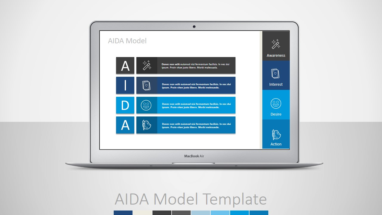 PPT Template AIDA Marketing Funnel