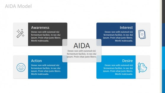 Four Quadrants AIDA Model Diagram for PowerPoint