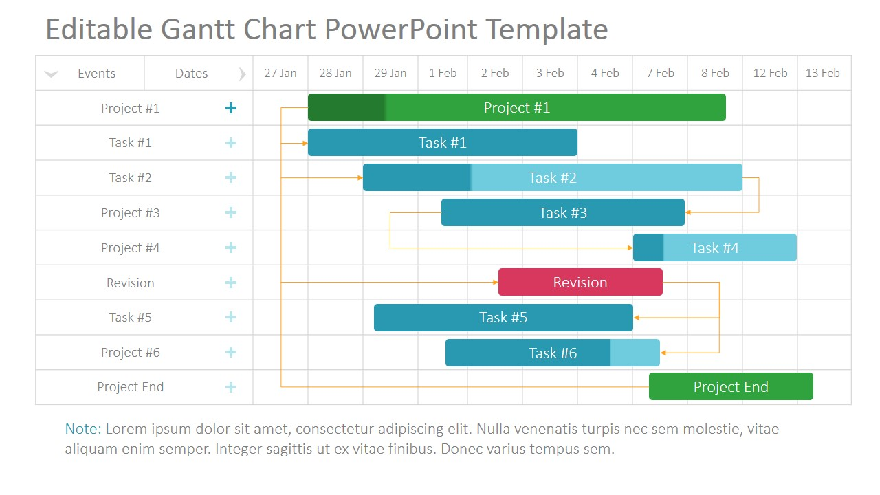 Project Gantt Chart PowerPoint Template SlideModel - Project plan and timeline template