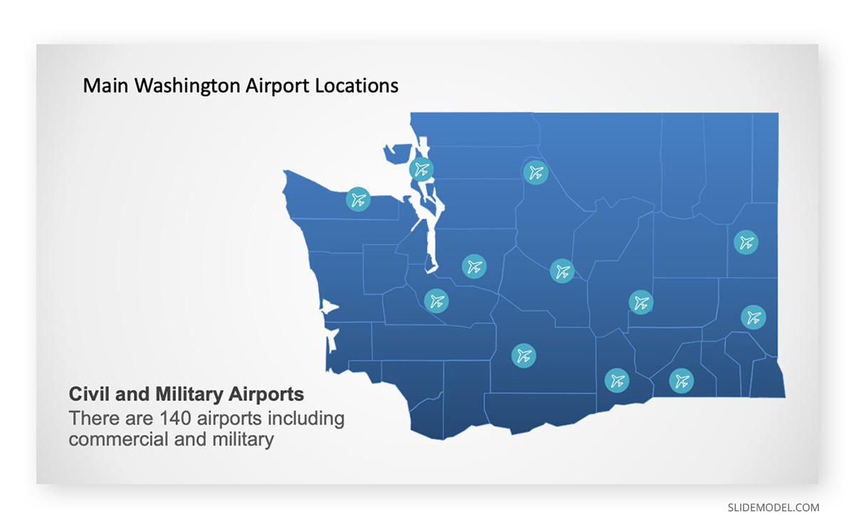 Map of Washington State PowerPoint Template