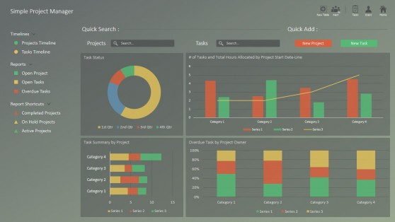 Project Portfolio Dashboard Slide for PowerPoint