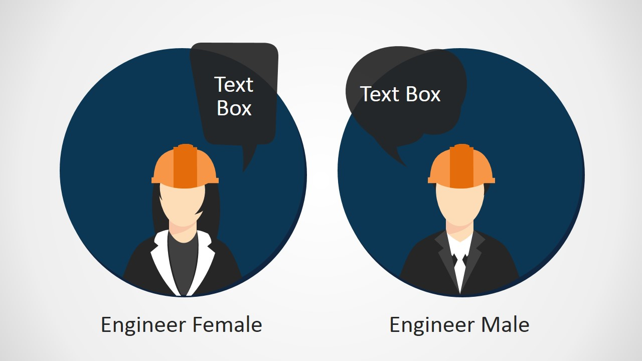 Editable PPT Silhouettes of Business Man and Woman