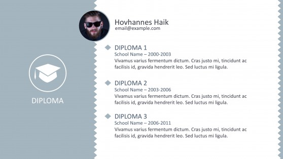 Diploma Slide for Curriculum Vitae PowerPoint
