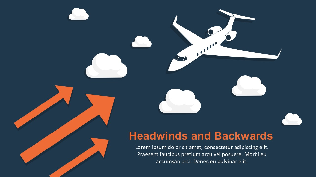 Headwinds and tailwinds powerpoint template airplane powerpoint graphics headwinds powerpoint template with arrow illustrations toneelgroepblik Gallery