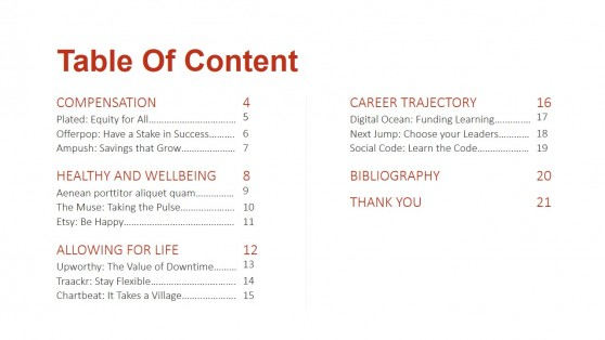 Table of Content Slide Design for Playbook