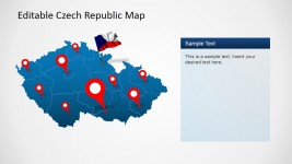 Flag and GPS Icon over Editable Czech Republic Map