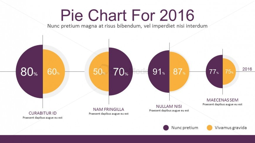 Comparison Pie Chart Flat Infographic PowerPoint Template