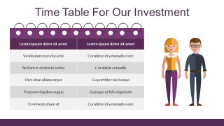 Investment Timeline For Business PowerPoint With Characters