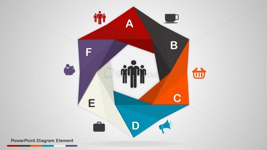 6 Steps Process Diagram Elements PowerPoint