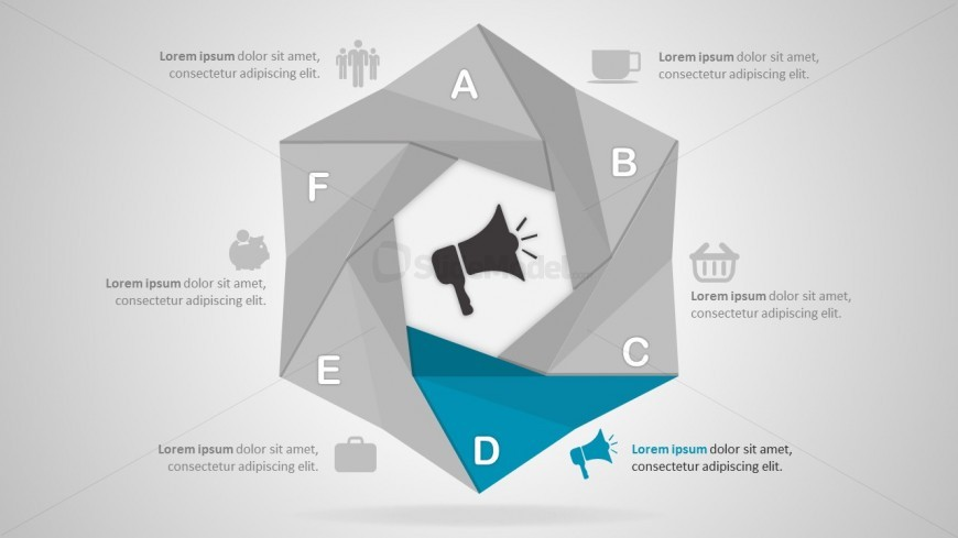 Hexagonal PowerPoint Diagrams With Communication Icon