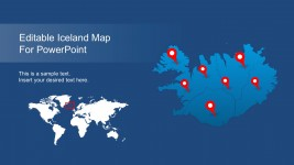 Iceland Editable Map For PowerPoint Cover Slide