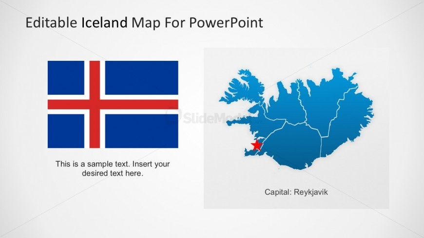 Iceland Map With Country Flag PowerPoint Design
