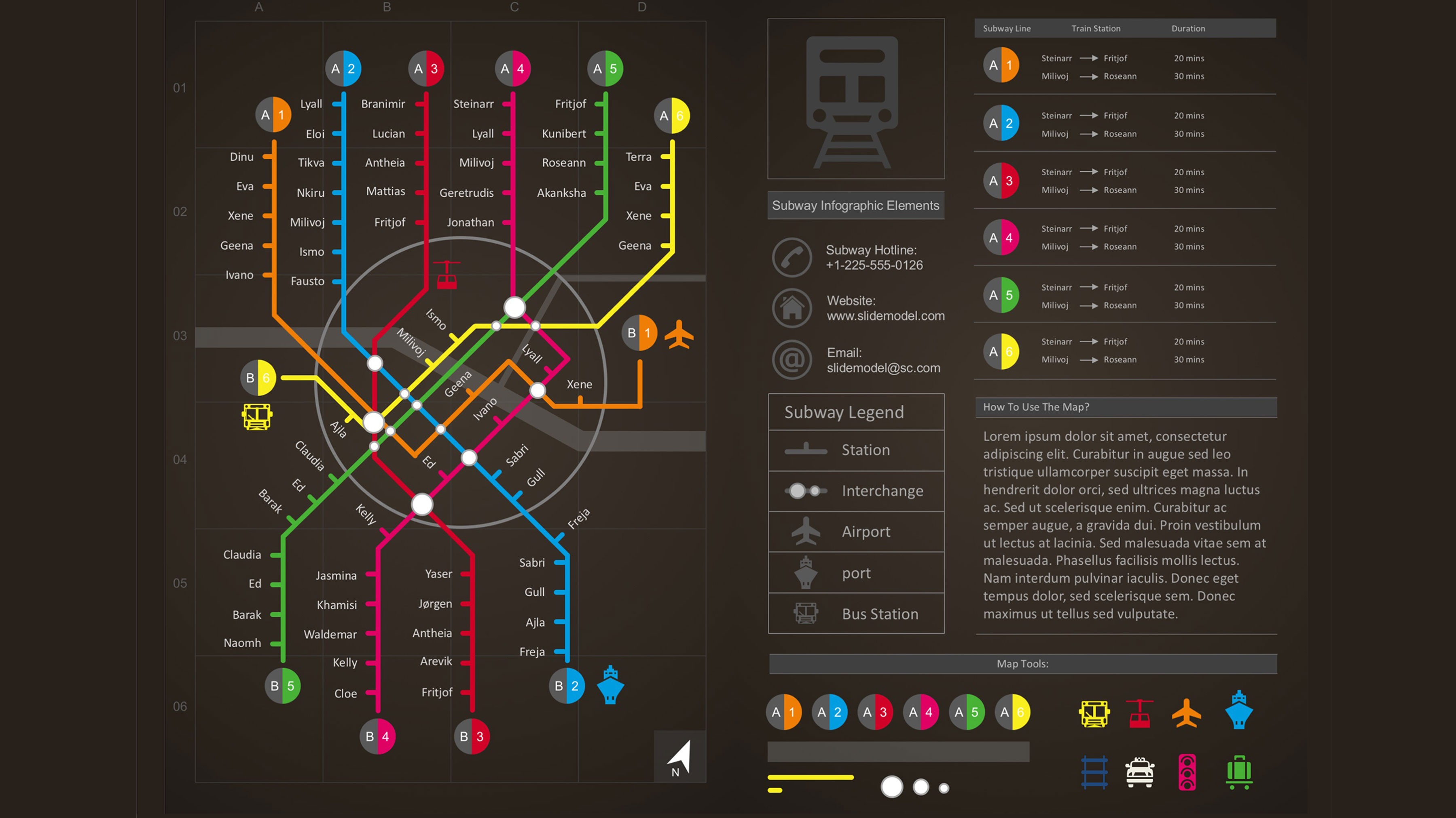 subway map infographic powerpoint template