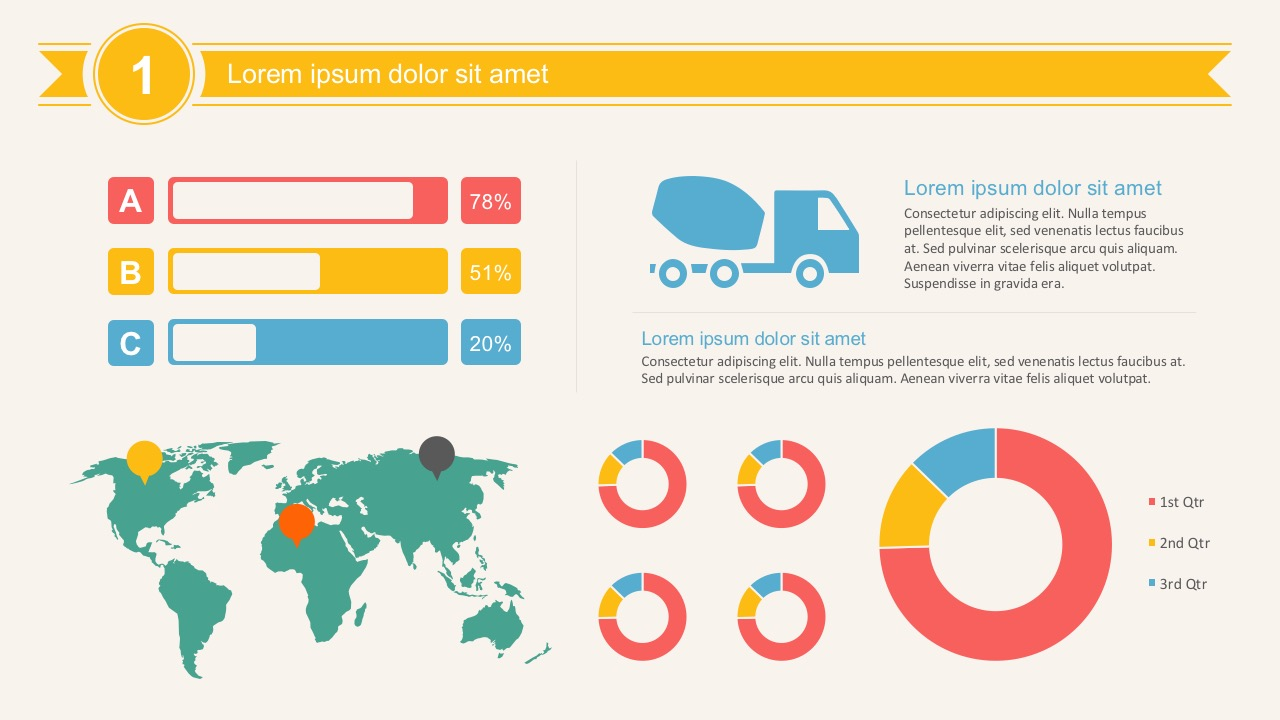 Transportation infographic elements powerpoint template high quality transport infographics elements for powerpoints cargo truck infographics with map and data charts toneelgroepblik Images