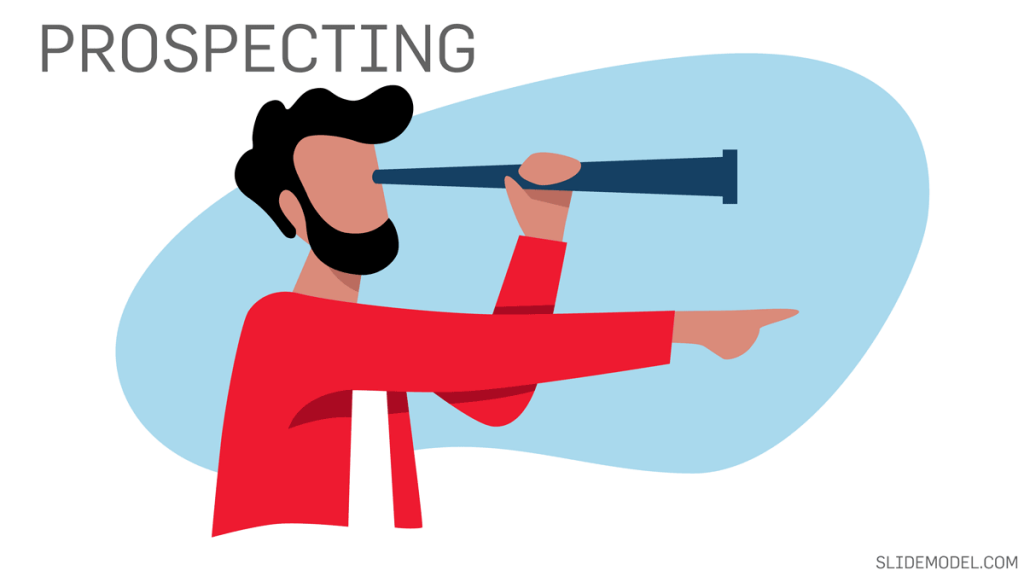 Prospecting Stage in Sales Process with an illustration of a man