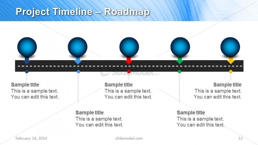 Horizontal Project Timeline Slide Design for PowerPoint SlideModel – Sample Marketing Timeline