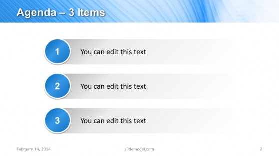 3 Items Agenda Slide Design for PowerPoint