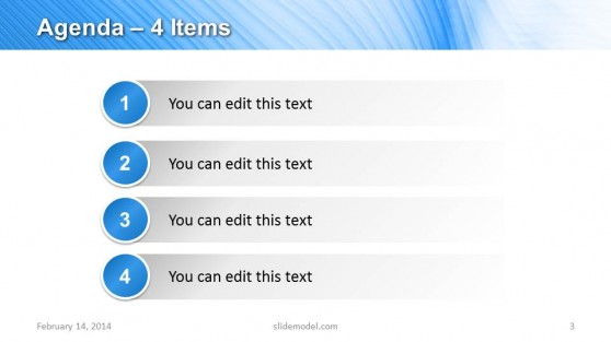 4 Items Agenda Slide Design for PowerPoint