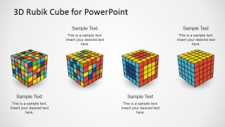 PowerPoint Diagram of Four Steps Featuring Magic Cube
