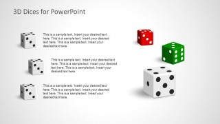 3 Numbers in Dices for PowerPoint with Colorful Dices