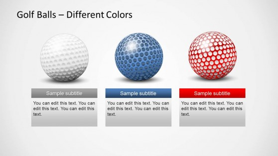 3 Colorful Golf Balls for PowerPoint