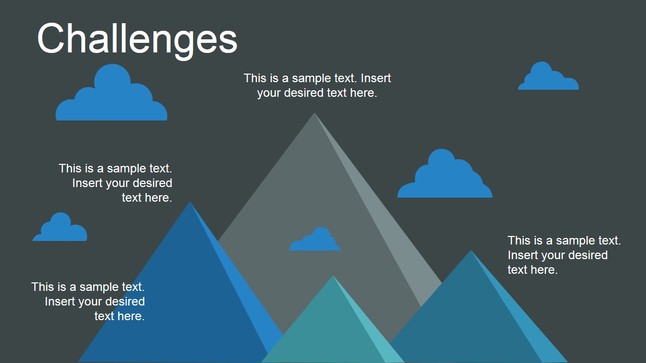 PowerPoint Flat Animated Mountains Metaphor for Challenges