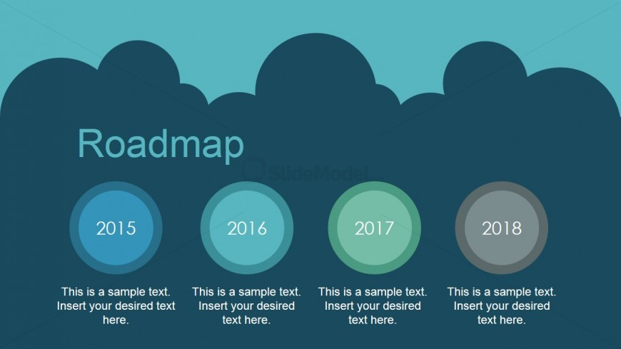 Blue Cloud Yearly Roadmap Powerpoint Template Slidemodel