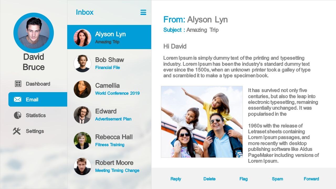 Email Service Design UX Dashboard