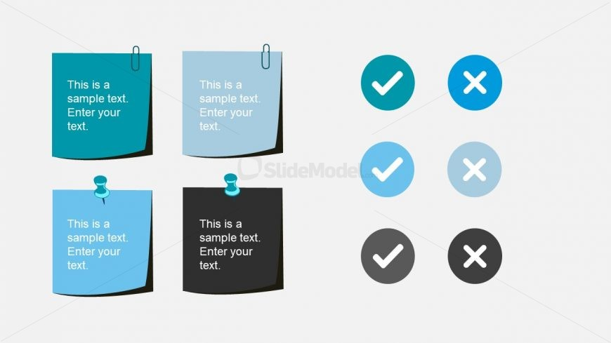 Editable Sticky Notes Pin Icons Slide