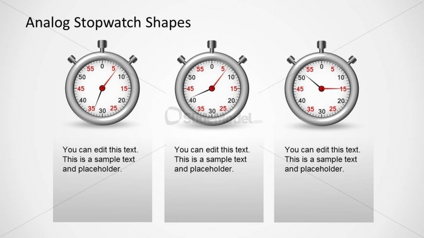 Three Stopwatch Shapes for PowerPoint