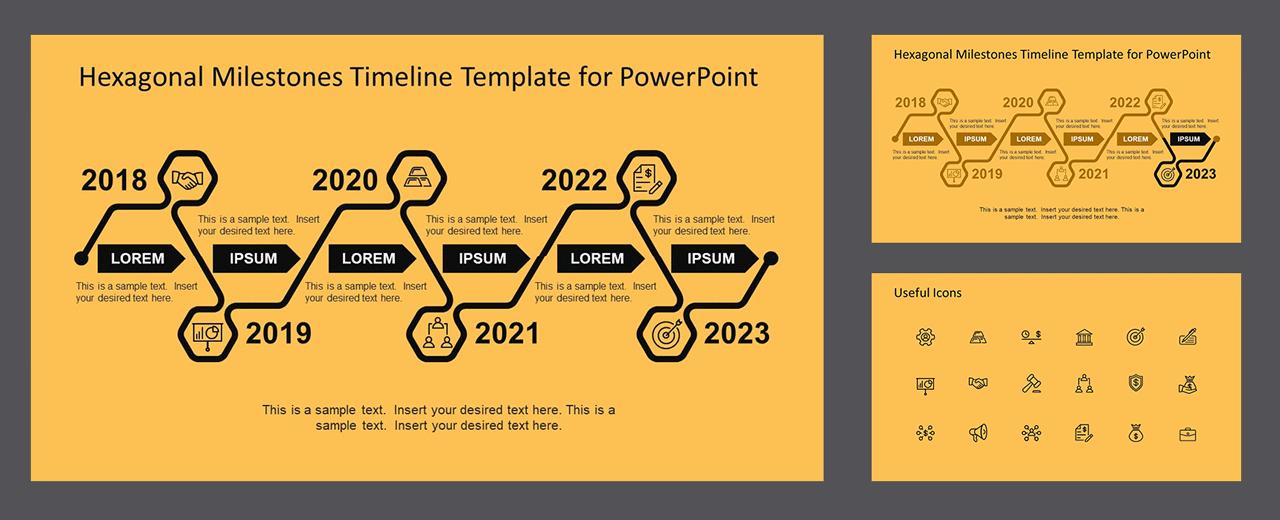 PPT Timeline Template Hexagonal Milestones